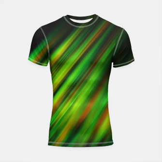 Colorful neon green brush strokes on dark gray Shortsleeve Rashguard thumbnail image