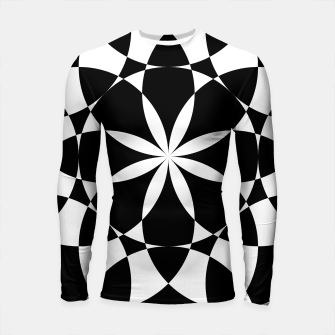 Black and white flower mandala mosaic Longsleeve Rashguard  thumbnail image