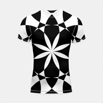 Black and white flower mandala mosaic Shortsleeve Rashguard thumbnail image