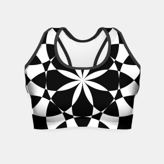 Black and white flower mandala mosaic Crop Top thumbnail image