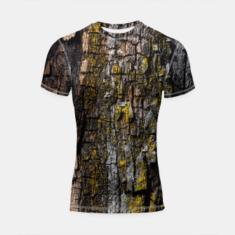 Thumbnail image of Cool Brown wood bark with yellow lichen Shortsleeve Rashguard, Live Heroes