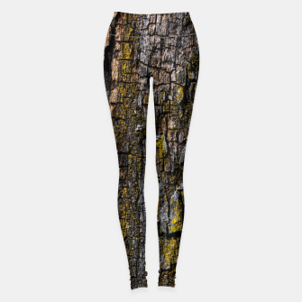 Thumbnail image of Cool Brown wood bark with yellow lichen Leggings, Live Heroes