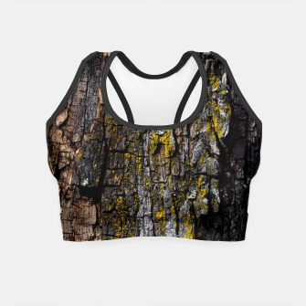 Thumbnail image of Cool Brown wood bark with yellow lichen Crop Top, Live Heroes