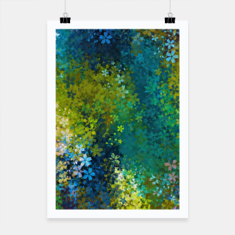 Miniatur flower pattern abstract background in blue yellow green red Poster, Live Heroes