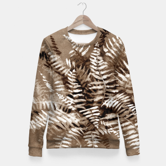 Thumbnail image of Fern, floral art, brown scale, monochrome Fitted Waist Sweater, Live Heroes