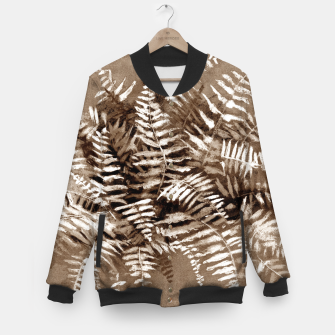 Thumbnail image of Fern, floral art, brown scale, monochrome Baseball Jacket, Live Heroes