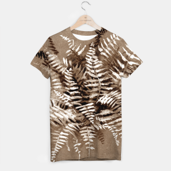 Thumbnail image of Fern, floral art, brown scale, monochrome T-shirt, Live Heroes