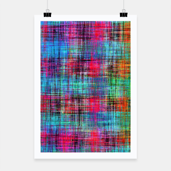 Miniatur plaid pattern abstract texture in blue pink green yellow Poster, Live Heroes