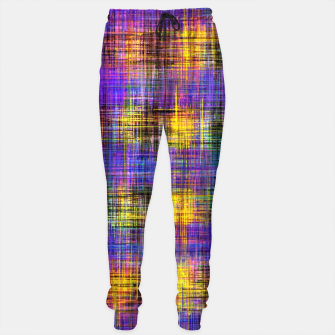 Miniaturka plaid pattern abstract texture in purple yellow green Sweatpants, Live Heroes