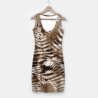 Thumbnail image of Fern, floral art, brown scale, monochrome Simple Dress, Live Heroes