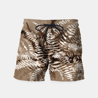 Thumbnail image of Fern, floral art, brown scale, monochrome Swim Shorts, Live Heroes