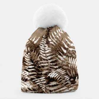 Thumbnail image of Fern, floral art, brown scale, monochrome Beanie, Live Heroes