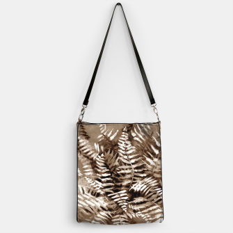 Thumbnail image of Fern, floral art, brown scale, monochrome Handbag, Live Heroes