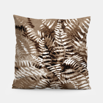 Thumbnail image of Fern, floral art, brown scale, monochrome Pillow, Live Heroes