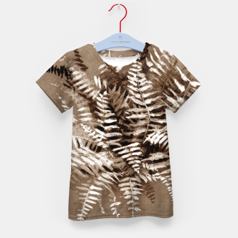 Thumbnail image of Fern, floral art, brown scale, monochrome Kid's T-shirt, Live Heroes