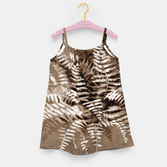 Thumbnail image of Fern, floral art, brown scale, monochrome Girl's Dress, Live Heroes