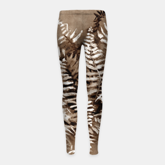 Thumbnail image of Fern, floral art, brown scale, monochrome Girl's Leggings, Live Heroes