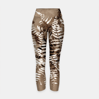 Thumbnail image of Fern, floral art, brown scale, monochrome Yoga Pants, Live Heroes