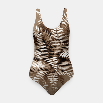 Thumbnail image of Fern, floral art, brown scale, monochrome Swimsuit, Live Heroes
