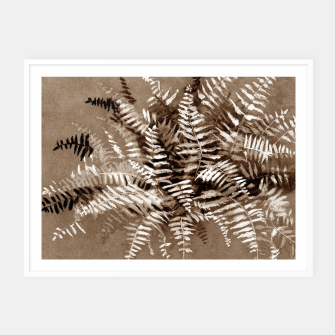 Thumbnail image of Fern, floral art, brown scale, monochrome Framed poster, Live Heroes
