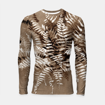 Thumbnail image of Fern, floral art, brown scale, monochrome Longsleeve Rashguard , Live Heroes