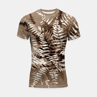 Thumbnail image of Fern, floral art, brown scale, monochrome Shortsleeve Rashguard, Live Heroes