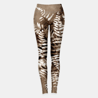 Thumbnail image of Fern, floral art, brown scale, monochrome Leggings, Live Heroes