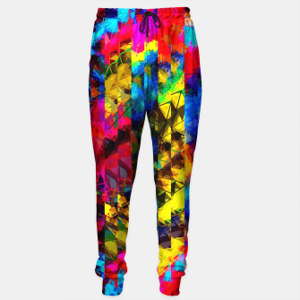 Miniaturka psychedelic geometric painting abstract pattern in red pink blue yellow Sweatpants, Live Heroes