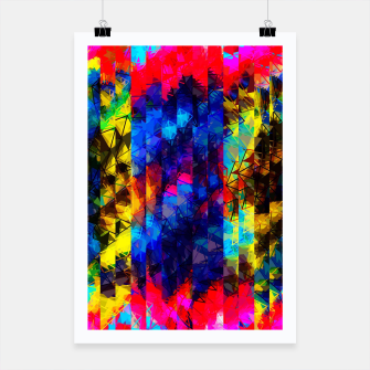 Miniatur psychedelic geometric painting abstract pattern in red pink blue yellow Poster, Live Heroes
