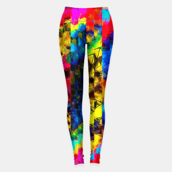 Thumbnail image of psychedelic geometric painting abstract pattern in red pink blue yellow Leggings, Live Heroes