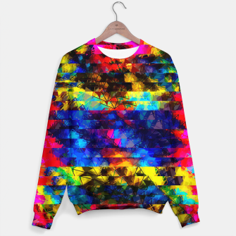 Miniaturka psychedelic geometric painting abstract pattern in red pink blue yellow Sweater, Live Heroes