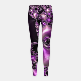 Thumbnail image of Silken Purple Swirling Fractal  Girl's Leggings, Live Heroes