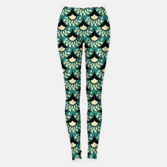 Thumbnail image of Geometric Heliconia Fan Pattern Leggings, Live Heroes