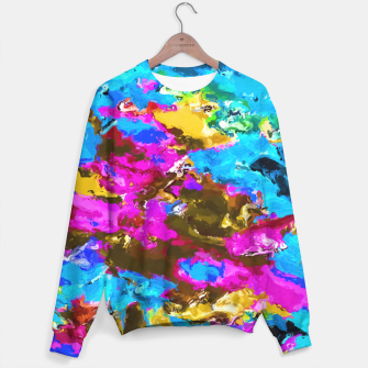 Miniaturka psychedelic splash painting abstract texture in blue pink yellow brown green Sweater, Live Heroes