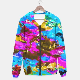 Miniaturka psychedelic splash painting abstract texture in blue pink yellow brown green Hoodie, Live Heroes