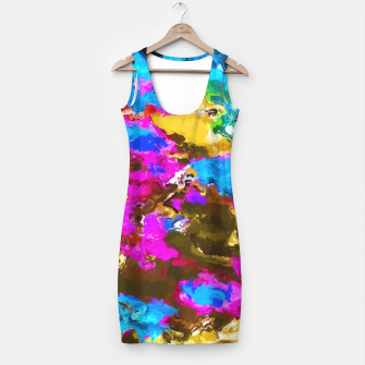 Thumbnail image of psychedelic splash painting abstract texture in blue pink yellow brown green Simple Dress, Live Heroes