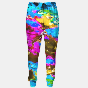 Miniaturka psychedelic splash painting abstract texture in blue pink yellow brown green Sweatpants, Live Heroes