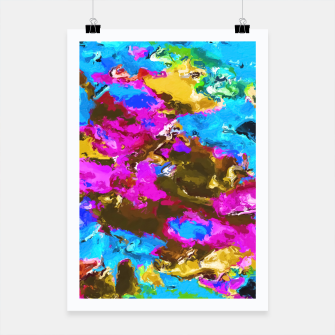 Thumbnail image of psychedelic splash painting abstract texture in blue pink yellow brown green Poster, Live Heroes