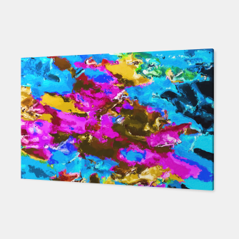 Thumbnail image of psychedelic splash painting abstract texture in blue pink yellow brown green Canvas, Live Heroes