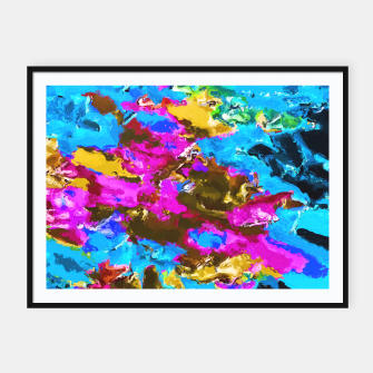 Thumbnail image of psychedelic splash painting abstract texture in blue pink yellow brown green Framed poster, Live Heroes