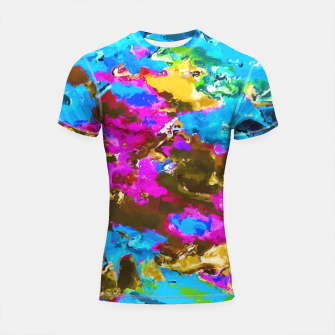 Thumbnail image of psychedelic splash painting abstract texture in blue pink yellow brown green Shortsleeve Rashguard, Live Heroes