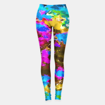 Thumbnail image of psychedelic splash painting abstract texture in blue pink yellow brown green Leggings, Live Heroes