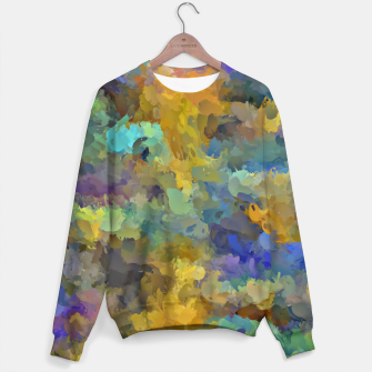 Miniaturka psychedelic painting abstract pattern in yellow brown blue Sweater, Live Heroes