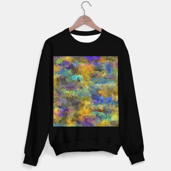 Thumbnail image of psychedelic painting abstract pattern in yellow brown blue Sweater regular, Live Heroes