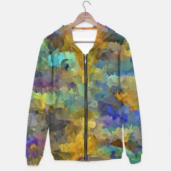 Thumbnail image of psychedelic painting abstract pattern in yellow brown blue Hoodie, Live Heroes