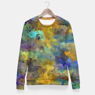 Thumbnail image of psychedelic painting abstract pattern in yellow brown blue Fitted Waist Sweater, Live Heroes