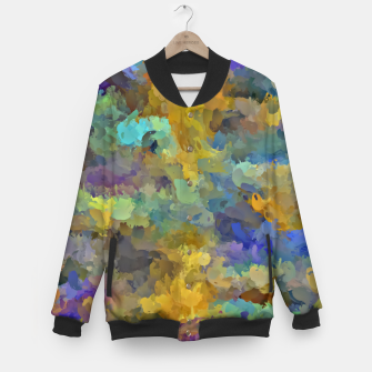 Thumbnail image of psychedelic painting abstract pattern in yellow brown blue Baseball Jacket, Live Heroes