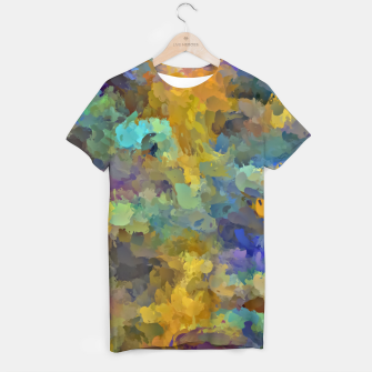 Thumbnail image of psychedelic painting abstract pattern in yellow brown blue T-shirt, Live Heroes