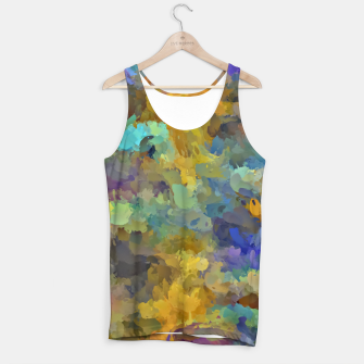 Thumbnail image of psychedelic painting abstract pattern in yellow brown blue Tank Top, Live Heroes