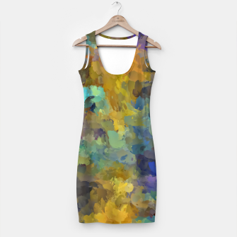 Thumbnail image of psychedelic painting abstract pattern in yellow brown blue Simple Dress, Live Heroes
